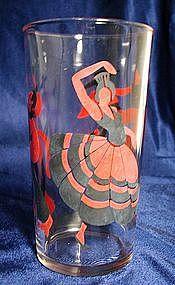 Hazel Atlas Flamenco Dancers Glass Tumbler