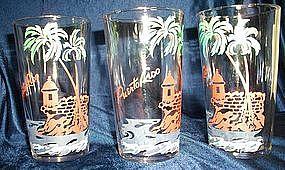 Vintage Glass Tumblers Puerto Rico