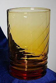 Libbey Amber Swirl and Rib Glass Tumbler