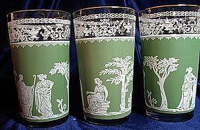 Jeanette Glass Green Hellenic Tumblers