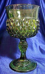 Indiana Diamond Point Green Wine Glass