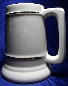 Antique White Ceramic Stein with Gold Trim
