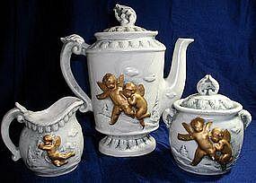 Ceramic Gold Cherub Teapot Set