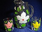 Hand Painted Floral Glass PItcher Set