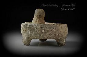 Ancient Roman basalt mortar and pestle, 100 - 300 AD