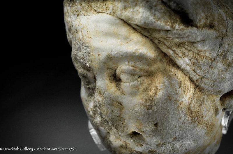 Ancient Roman marble head fragment 100 � 300 AD