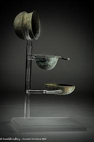 Ancient Greek bronze wine drinking set, 400 BC