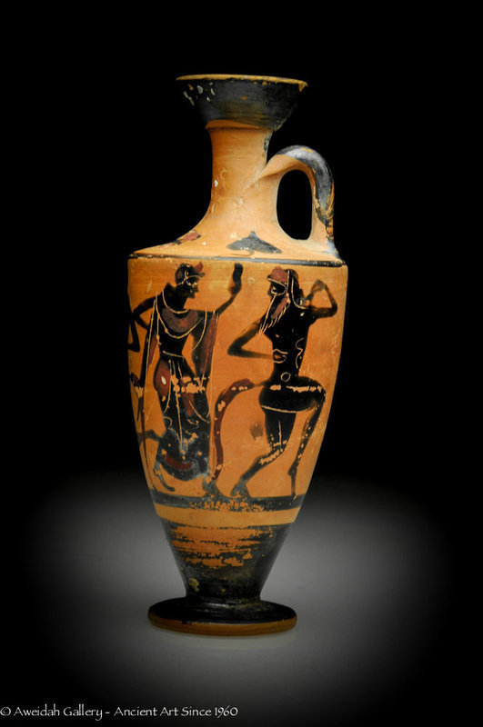 Ancient Greek Painted Pottery Lekythos, 500 BC