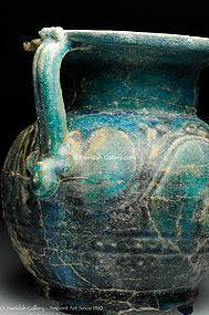 RARE - Egyptian Faience glazed jar, 100 AD