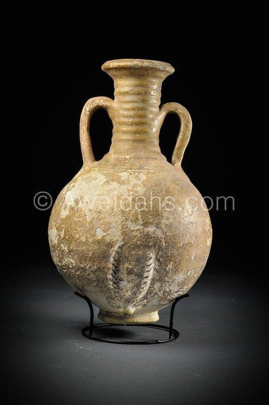 Parthian glazed pottery wine rython flask, 2nd AD