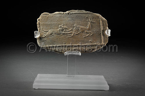 "Ancient Near-Eastern pottery plaque ""hunting scene"", 5th Cent. BC"