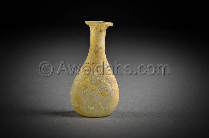 Ancient Roman glass perfume flask, 100 - 300 AD