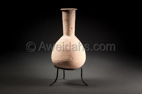 Ancient biblical Roman Herodian pottery flask, 37 BC - 70 AD