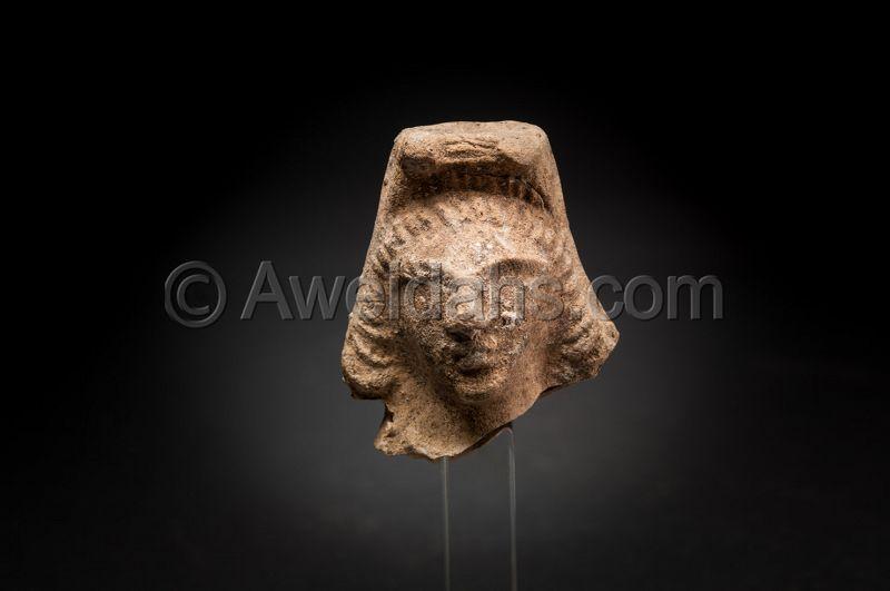 LATE ROMAN TERRACOTTA ASTARTE HEAD, 300 - 400 AD