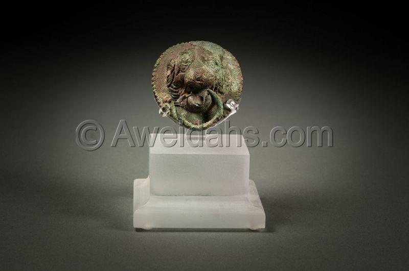 ANCIENT ROMAN BRONZE LION HEAD ROUNDEL, 3rd Century AD