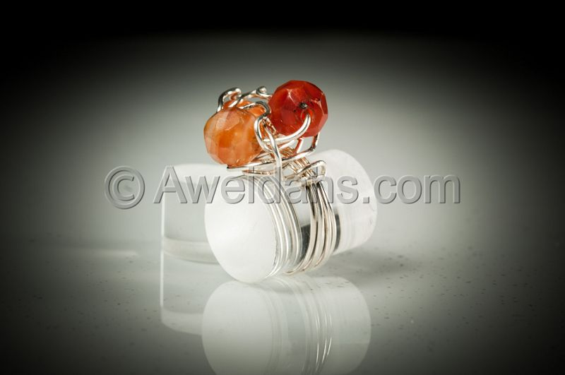 Ancient Roman carnelian beads jewelry ring, 100 AD