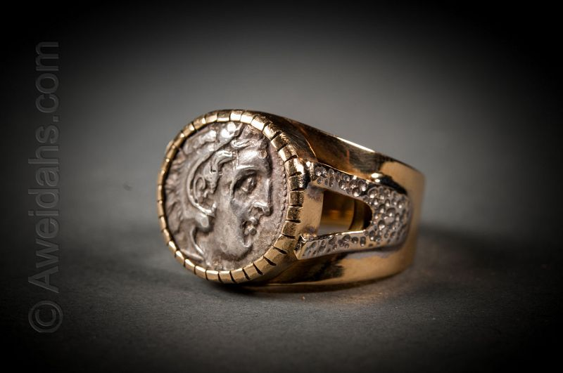 Greek silver drachm of Alexander the Great ring, 336 – 323 BC