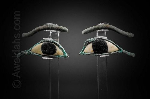 PAIR OF ANCIENT EGYPTIAN BRONZE AND ALABASTER EYES, 600 BC