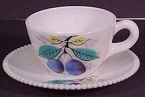 Westmoreland Fruits Beaded Edge Cup & Saucer, Plum