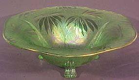 """Fostoria Palm Leaf Green 12"""" Bowl"""