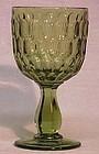 Fenton Colonial Green 10 oz Goblet, Thumbprint