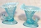 Fenton Blue Opalescent Hobnail Large Cornucopia Candle Holders