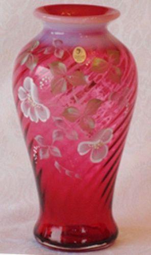 "Fenton Cranberry Spiral Optic 10"" Vase"