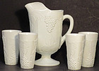 Indiana Colony Harvest with Grapes Pitcher w/7 Tumblers, Milkglass