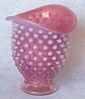 Fenton Cranberry Opalescent Wide Mouth Mini Vase