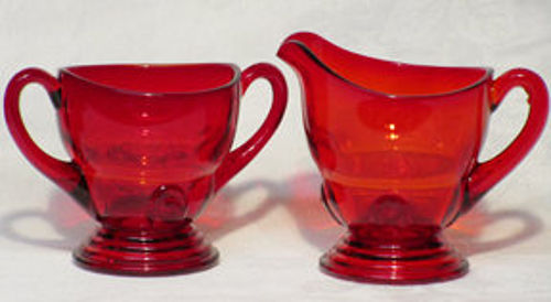 New Martinsville Moondrops Red Creamer & Sugar, 3 oz.