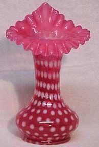 """Fenton Polka-Dot Cranberry Opalescent 9"""" Jack Vase"""