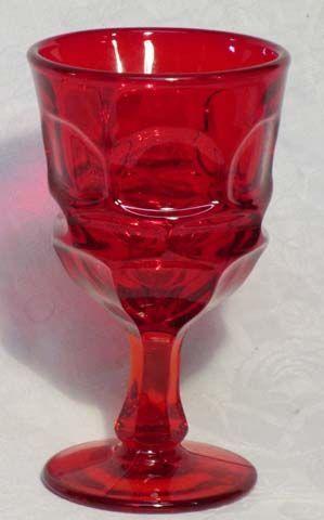 """Fostoria Argus Red Water Goblet, 7"""", 10 oz."""