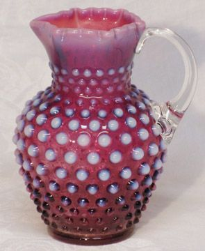 Fenton Plum Opalescent Syrup Pitcher