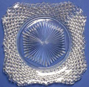Westmoreland English Hobnail Square Luncheon Plates, Crystal