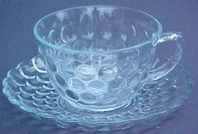 Hocking Blue Bubble Cup & Saucer