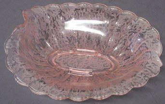 Fenton Pink Ming Etched Bowl