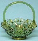 "Fenton Thumbprint Colonial Green Basket, 8"""