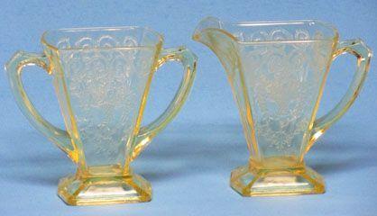 Indiana Glass Lorain Creamer and Sugar, Yellow