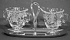 Fostoria Bouquet Etched Creamer & Sugar with Chrome Tray