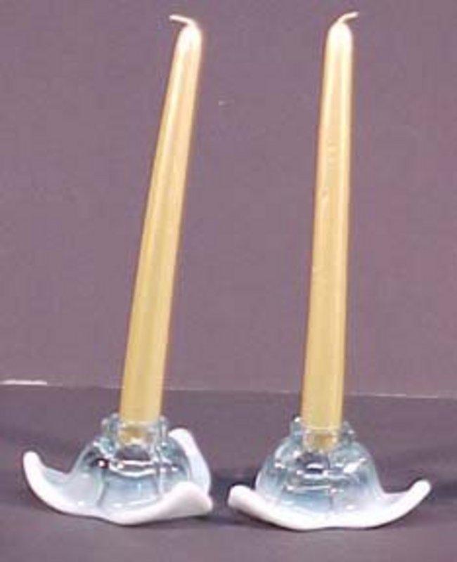 Duncan & Miller Tulip Candlesticks Blue Opalescent