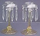 Fostoria #2436 Lustre Candlesticks Yellow (pair) RARE