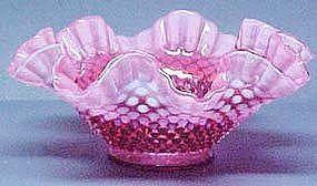 """Fenton Cranberry Hobnail Opalescent 9"""" Bowl"""