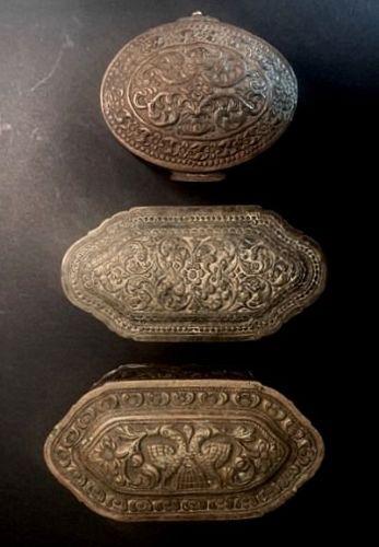 Old Sri Lanka Repoussé Trinket Boxes