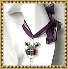 Signed Mimi Dee Sterling Silver Fluorite Amethyst Pendant Gems