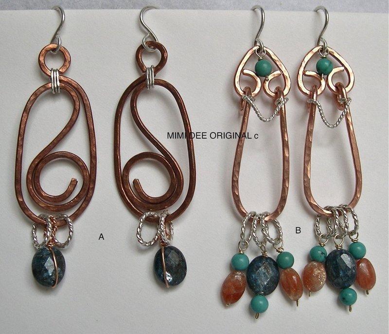 Signed Mimi Dee Studio Copper Sterling Hammered Earrings Gems