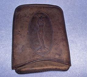 Antique Victorian Art Nouveau Lady Cheroot Cigar Leather Case