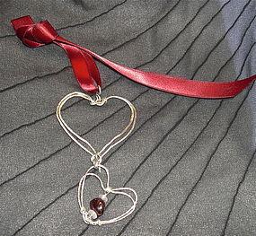 Signed Mimi Dee Sterling Studio Double Heart Pendant Garnet