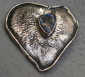 Vintage Sterling Silver Silversmith Charles Skiera Heart Pin Opal
