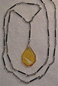 Vintage Etched Amber Glass Drop Black Tube Sautoir Necklace