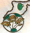 Vintage Ea Foliate Brass Necklace OR Ring Green Glass Stone or Duo